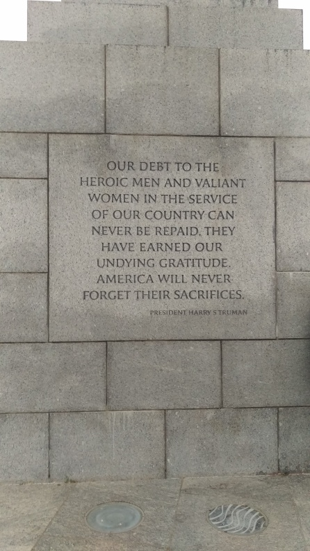 One of the engraved quotes around the WWII memorial